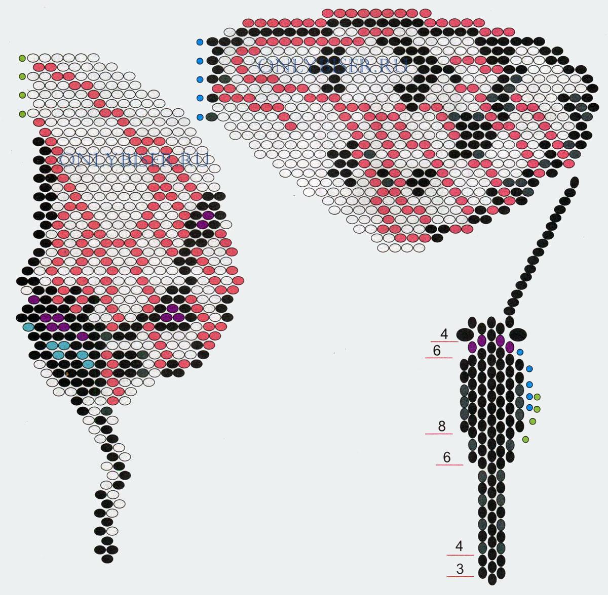 Схема бабочки из бисера 22 фотография