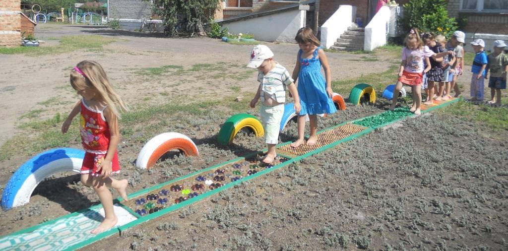 Дорожка здоровья на улице в детском саду своими руками