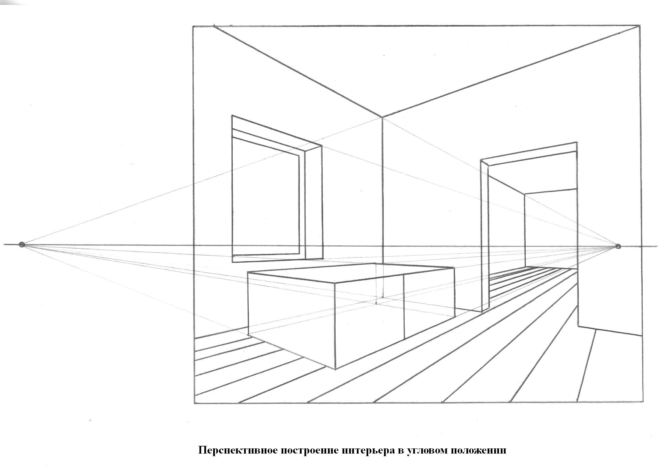 Построение перспективы интерьера в картинках